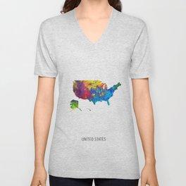 United States Watercolor Map Unisex V-Neck
