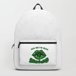 St Patricks Day For Women Green Lips Shamrock Gift Backpack