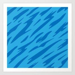 Bold and Beautiful Blues Abstract Striped Pattern Art Print