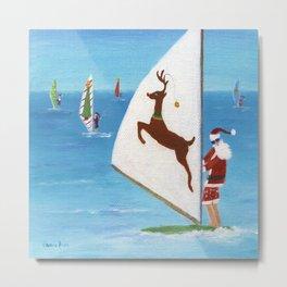 Christmas Wind Sailing Santas Metal Print