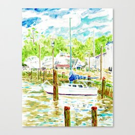 Watercolor of Boat at Dock in Tanger Sound MD Canvas Print