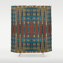 South Western Color Palette Mosaic Pattern Shower Curtain