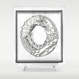 Zentangle O Monogram Alphabet Illustration Shower Curtain