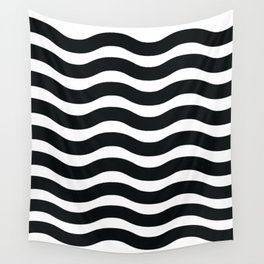 Black And White Abstract Wavy Lines Pattern Wall Tapestry