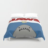 movie poster Duvet Covers featuring JAWS Movie Poster by Monkey Chow