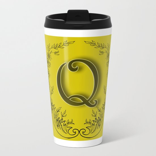 letter Q in a wreath of flowers Metal Travel Mug