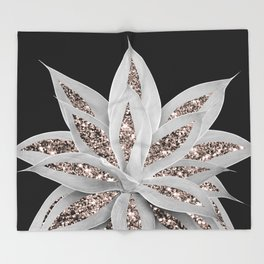 Gray Agave with Rose Gold Glitter #2 #shiny #tropical #decor #art #society6 Throw Blanket