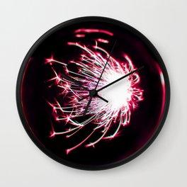 Pink Glitter Firework In Sphere Wall Clock