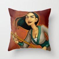 mulan Throw Pillows featuring MULAN by Kaja Reinki