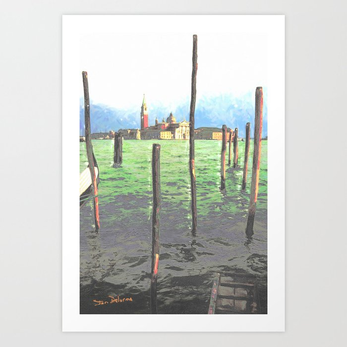 Gondola Moorings Art Print