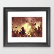 Butterfly Flower Field Framed Art Print
