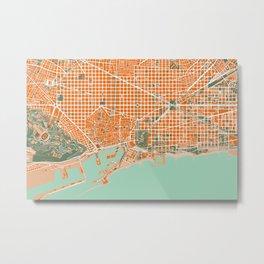Barcelona city map orange Metal Print