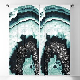 Icy Blue Agate with Black Glitter #1 #gem #decor #art #society6 Blackout Curtain