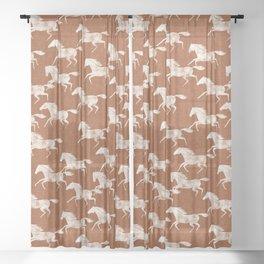 wild horses - ginger orange Sheer Curtain