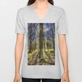 Peaceful Forest Van Gogh Unisex V-Neck
