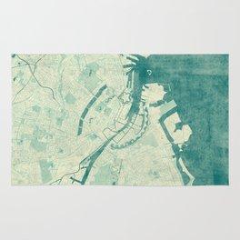Copenhagen Map Blue Vintage Rug