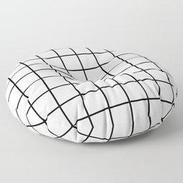 black and white grid pattern Floor Pillow