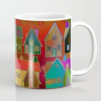 merry christmas Mugs featuring Merry Christmas! by Klara Acel
