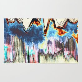 Digtal Watercolor Painting Mountains Psychedelic Rug