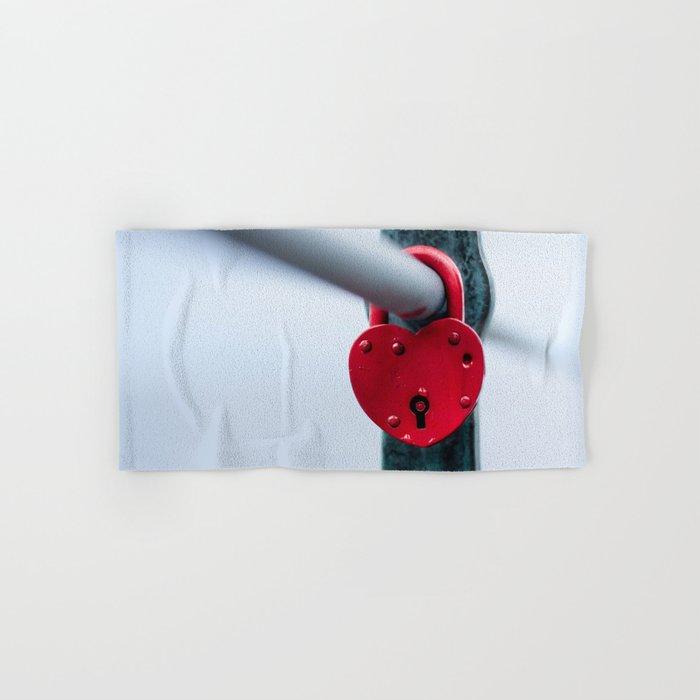 Red Heart Lock Hand & Bath Towel