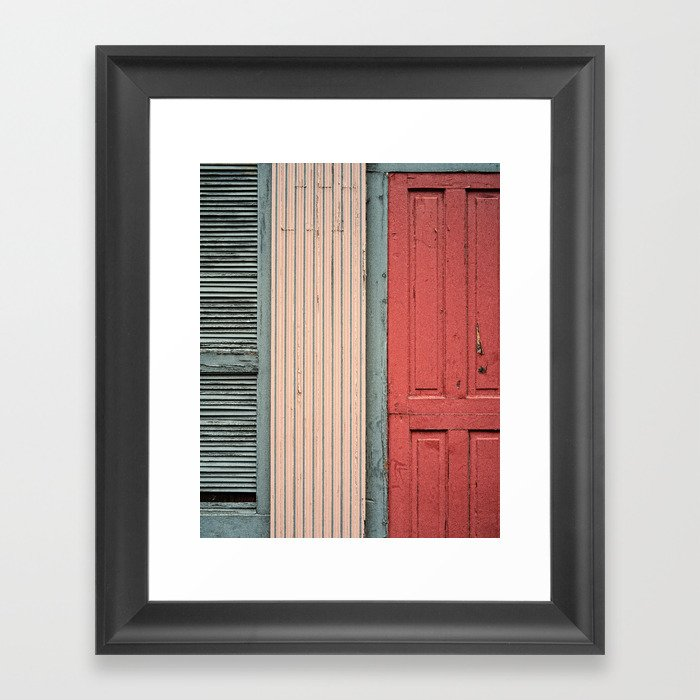 Teal Shutters: Teal Shutter, Coral Door Framed Art Print By Woodnimages