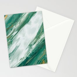 Emerald Jade Green Gold Accented Painted Marble Stationery Cards