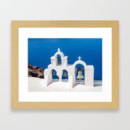Oia Santorini Greece Church Bells Framed Art Print