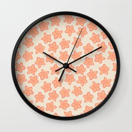Peach and Cream Floral Pattern Wall Clock
