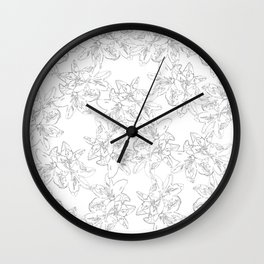 black and white line art flowers Wall Clock