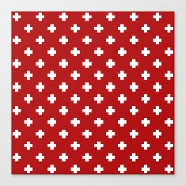 White Swiss Cross Pattern on Red background Canvas Print