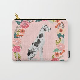 great dane dog floral wreath dog gifts pet portraits Carry-All Pouch