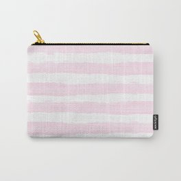 Pink handpainted stripes on clear white Carry-All Pouch
