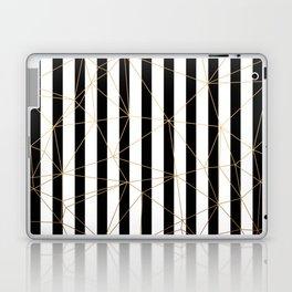 Black and White Stripes Gold Geometric Pattern Laptop & iPad Skin
