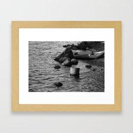 A Break by the Lake (B&W) Framed Art Print