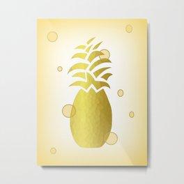 Golden Pineapple Decor Metal Print