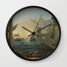 Seaport with the Embarkation of the Queen of Sheba by Claude Wall Clock