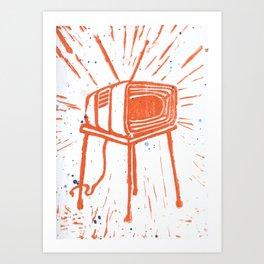 TV Set Lino Art Print
