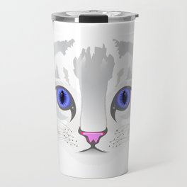 Cute white tabby cat face close up illustration Travel Mug