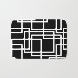 Interlocking White Squares Artistic Design Bath Mat