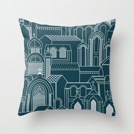 Ukrainian Church Monochrome Throw Pillow