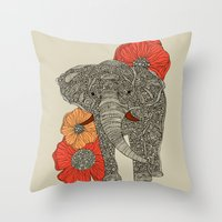 patterns Throw Pillows featuring The Elephant by Valentina Harper