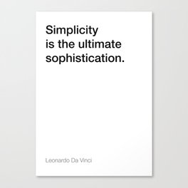 Da Vinci quote about simplicity [White Edition] Canvas Print
