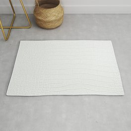 White Crocodile Realistic Skin Print Rug