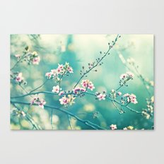 Turquoise Teal Pink Floral Photography, Aqua Flower Nature Art Canvas Print