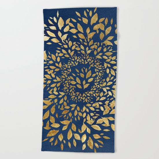 Gold Leaves Mandala Beach Towel