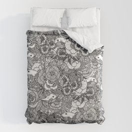 Adventure of Tiny Land Whales Duvet Cover