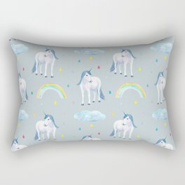 Unicorn and rainbow, watercolor pattern Rectangular Pillow