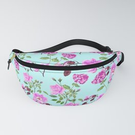 pink purple flowers watercolor painting Fanny Pack