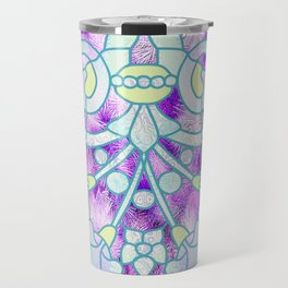 Art Nouveau Aqua and Purple Batik Design Travel Mug