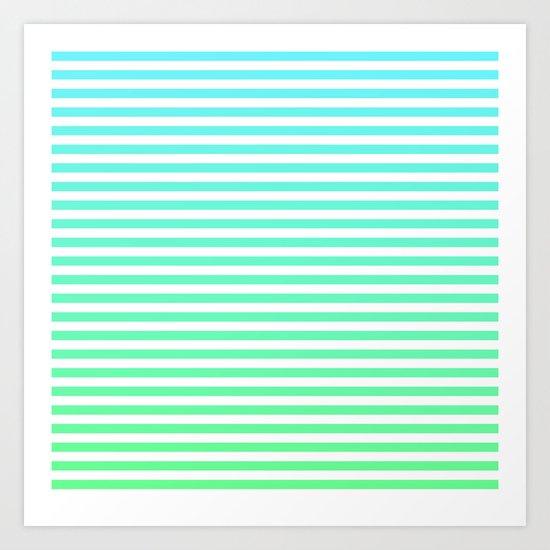 Beach Blanket - Aqua/Green Art Print